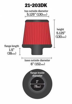 "3.0"" AEM 21-203DK DryFlow Air Filter"