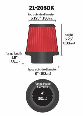 "4.0"" AEM 21-205DK DryFlow Air Filter"