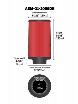 "4.0"" AEM 21-2059DK DryFlow Air Filter"